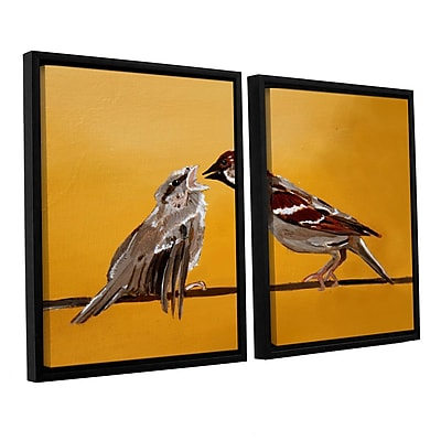 ArtWall Sparrows by Lindsey Janich 2 Piece Framed Painting Print on Canvas Set; 32'' H x 48'' W