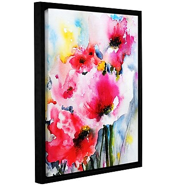ArtWall Pink Poppies by Karin Johannesson Framed Painting Print on Wrapped Canvas; 48'' H x 36'' W