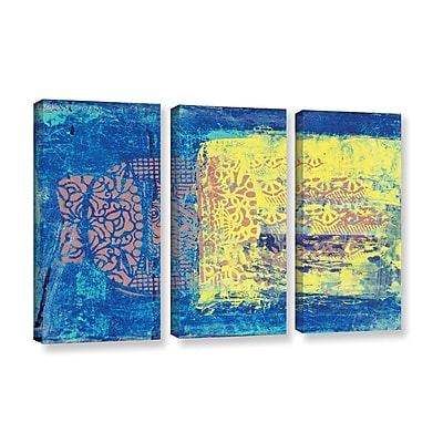 ArtWall 'Blue w/ Stencils' by Elena Ray 3 Piece Painting Print on Wrapped Canvas Set WYF078278524352