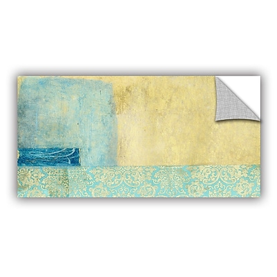 ArtWall Gold And Blue Banner by Elena Ray Removable Painting Print; 24'' H x 48'' W WYF078278524733