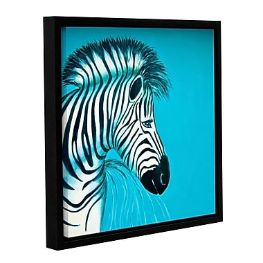 ArtWall Zebras Blue by Lindsey Janich Painting Print on Canvas; 18'' H x 18'' W