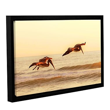 ArtWall Pelicans At Sunset by Lindsey Janich Framed Photographic Print on Wrapped Canvas