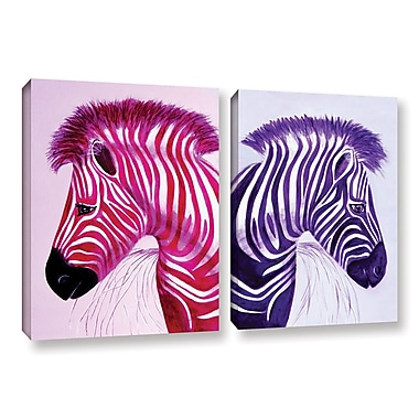 ArtWall Zebras Pink Purple by Lindsey Janich 2 Piece Painting Print on Wrapped Canvas Set