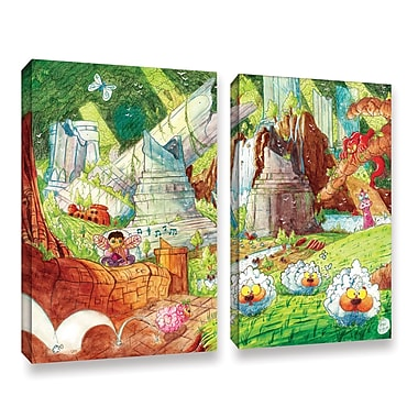 ArtWall Sheep Forest by Luis Peres 2 Piece Graphic Art on Wrapped Canvas Set; 24'' H x 32'' W