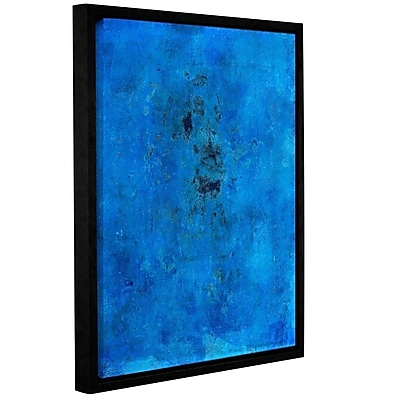 ArtWall Blue Grunge by Elena Ray Framed Painting Print on Wrapped Canvas; 32'' H x 24'' W