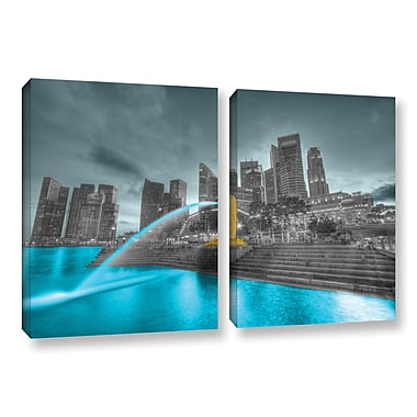 ArtWall Singapore by Revolver Ocelot 2 Piece Graphic Art on Wrapped Canvas Set; 24'' H x 36'' W