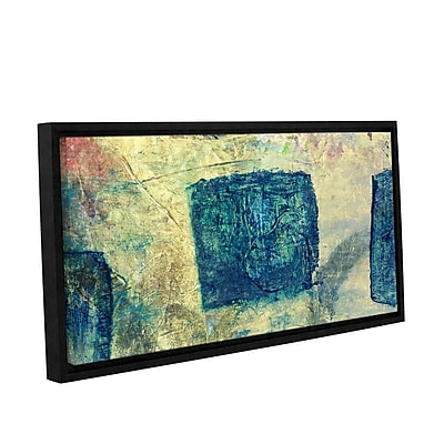 ArtWall Blue Golds by Elena Ray Framed Painting Print on Wrapped Canvas; 24'' H x 48'' W