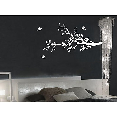 Innovative Stencils Tree Branches w/ Leaves and Love Birds Wall Decal; White