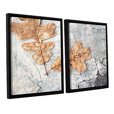 ArtWall Still Life Two Leaves by Elena Ray 2 Piece Framed Photographic Print on Wrapped Canvas Set