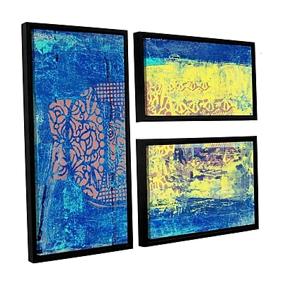 ArtWall Blue w/ Stencils by Elena Ray 3 Piece Framed Painting Print on Wrapped Canvas Set WYF078278523500