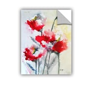 ArtWall Vibrant Poppies by Karin Johannesson Wall Decal; 32'' H x 24'' W