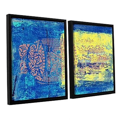 ArtWall Blue w/ Stencils by Elena Ray 2 Piece Framed Painting Print on Wrapped Canvas Set WYF078278523701