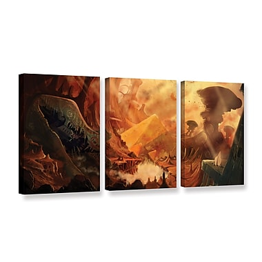 ArtWall Monuments of Mars by Luis Peres 3 Piece Graphic Art on Wrapped Canvas Set; 18'' H x 36'' W