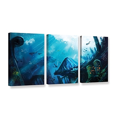 ArtWall Monument Of Azores by Luis Peres 3 Piece Graphic Art on Wrapped Canvas Set; 24'' H x 48'' W