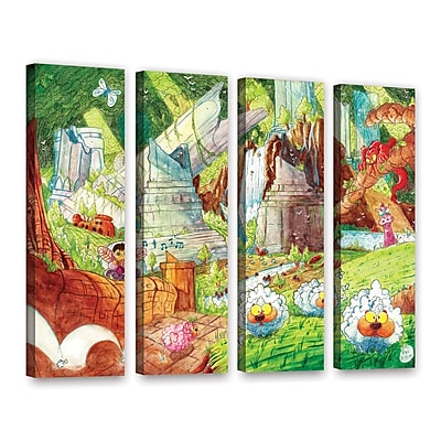 ArtWall Sheep Forest by Luis Peres 4 Piece Painting Print on Wrapped Canvas Set; 36'' H x 48'' W
