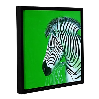 ArtWall Zebras Green by Lindsey Janich Framed Painting Print on Wrapped Canvas; 14'' H x 14'' W