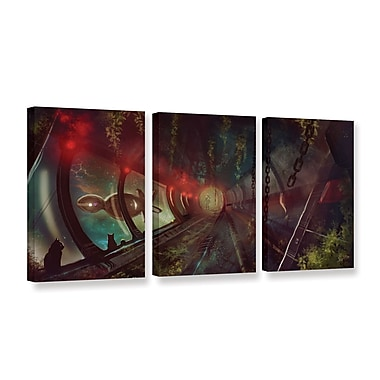 ArtWall Cats In Space 2 by Luis Peres 3 Piece Graphic Art on Wrapped Canvas Set; 18'' H x 36'' W