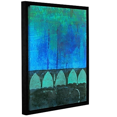 ArtWall Blue-Green Abstract by Elena Ray Framed Painting Print on Wrapped Canvas; 24'' H x 48'' W WYF078278526857