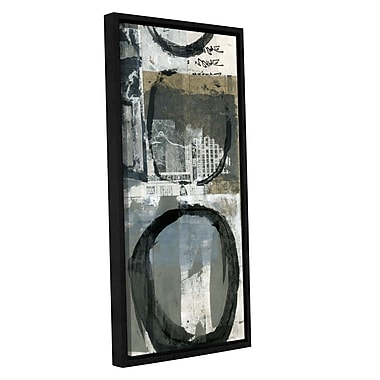 ArtWall Black Ink Enso Circle by Elena Ray Framed Painting Print on Wrapped Canvas; 36'' H x 18'' W