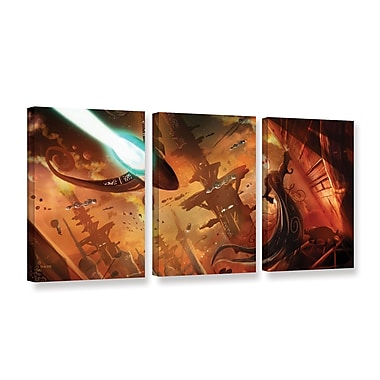 ArtWall Rust World 2014 by Luis Peres 3 Piece Graphic Art on Wrapped Canvas Set; 36'' H x 72'' W