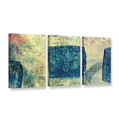ArtWall Blue Golds by Elena Ray 3 Piece Painting Print on Wrapped Canvas Set; 18'' H x 36'' W WYF078278526608