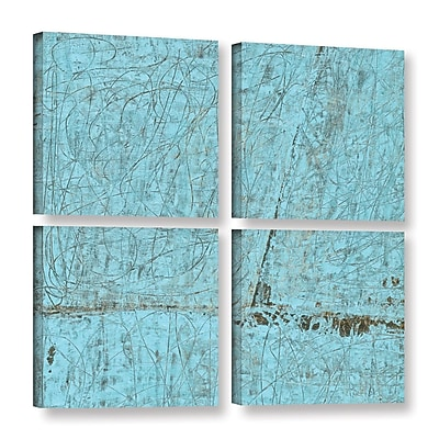 ArtWall Cyan Swirl by Elena Ray 4 Piece Painting Print on Wrapped Canvas Set; 36'' H x 36'' W