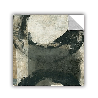 ArtWall Abstract Gray w/ Black Circles by Elena Ray Removable Painting Print; 18'' H x 18'' W