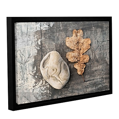 ArtWall Still Life Leaf Stone by Elena Ray Framed Photographic Print on Wrapped Canvas