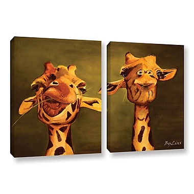 ArtWall Giraffe Buddies by Lindsey Janich 2 Piece Painting Print on Wrapped Canvas Set