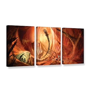 ArtWall Monuments of Mars 2 by Luis Peres 3 Piece Graphic Art on Wrapped Canvas Set; 24'' H x 48'' W