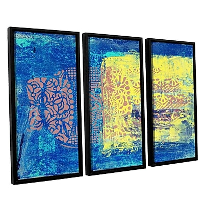 ArtWall Blue w/ Stencils by Elena Ray 3 Piece Framed Painting Print on Wrapped Canvas Set WYF078278523499