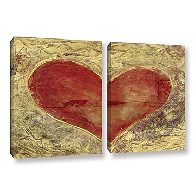 ArtWall Red Heart Of Gold by Elena Ray 2 Piece Painting Print on Wrapped Canvas Set; 24'' H x 36'' W