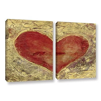 ArtWall Red Heart Of Gold by Elena Ray 2 Piece Painting Print on Wrapped Canvas Set; 32'' H x 48'' W