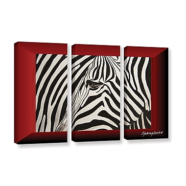 ArtWall 'Zebras Abstract' by Lindsey Janich 3 Piece Painting Print on Wrapped Canvas Set