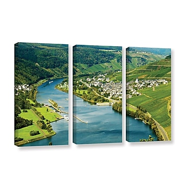 ArtWall 'Enkrich, Mosel River' by Lindsey Janich 3 Piece Photographic Print on Wrapped Canvas Set