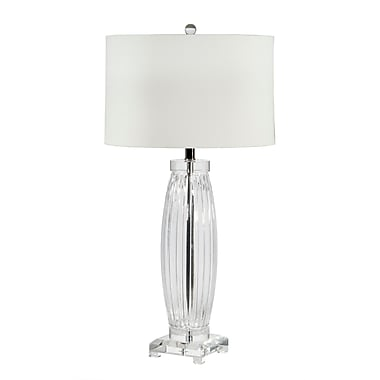 Home Details Glass Table Lamp with Linen Shade, Traditional, 32.75