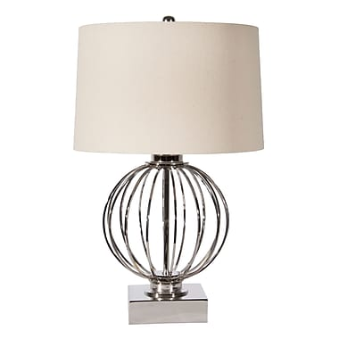 Steven & Chris Iron Ball Table Lamp with White Linen Shade, 25.25