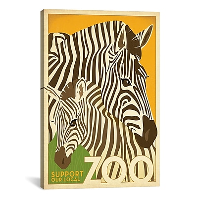 iCanvas VAF Zoo Zebra by Anderson Design Group Graphic Art on Wrapped Canvas