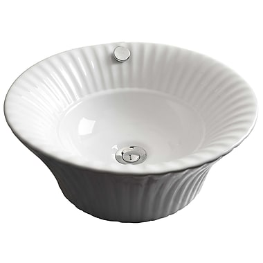 American Imaginations Ceramic Circular Vessel Bathroom Sink w/ Overflow; White