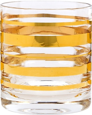Home Essentials and Beyond Posh Gold Bangle Double 10 oz. Old Fashioned Glass (Set of 4) WYF078278086214