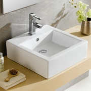 Fine Fixtures Modern Ceramic Square Vessel Bathroom Sink w/ Overflow