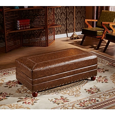 Corzano Designs Leopold Royal Stitching Ottoman Bench; Dark Brown