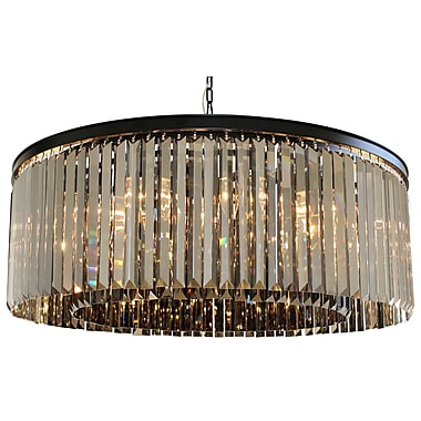 LightUpMyHome D'angelo 12-Light Crystal Chandelier; Smoked Glass