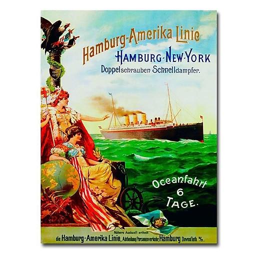 "Trademark Global ""Hamburg-America Line, 1987"" Canvas Art, 32"" x 24"""
