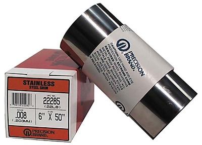 Precision Brand® Plain Stainless Steel Shim Stock Roll, 0.01