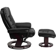 Flash Furniture Contemporary Leather Swivel Recliner and Ottoman with Mahogany Wood Base, Black