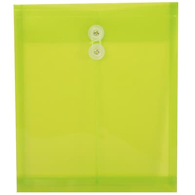 JAM Paper® Plastic Envelopes, Button and String Tie Closure, Letter Open End, 9.75 x 11.75, Lime Green Poly, 108/pack (118B1LIB)