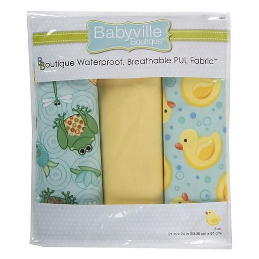 "Babyville PUL Waterproof Diaper Fabric, Playful Pond & Ducks, 21""X24"" Cuts"