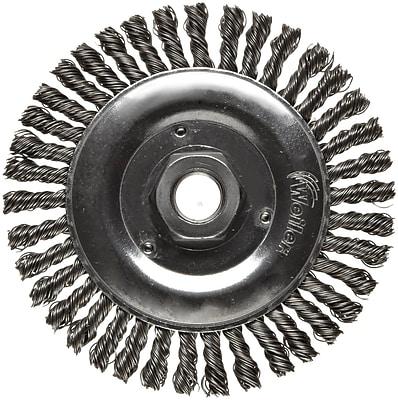 Dualife® 5 in (OD) 3/16 in (W) Face Stringer Bead Wire Wheel Brush, 0.02 in Wire, Steel