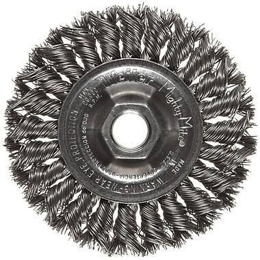 Dualife® 4 in (OD) 1/2 in (W) Face Standard Twist Knot Wire Wheel Brush, 0.02 in Wire, Steel